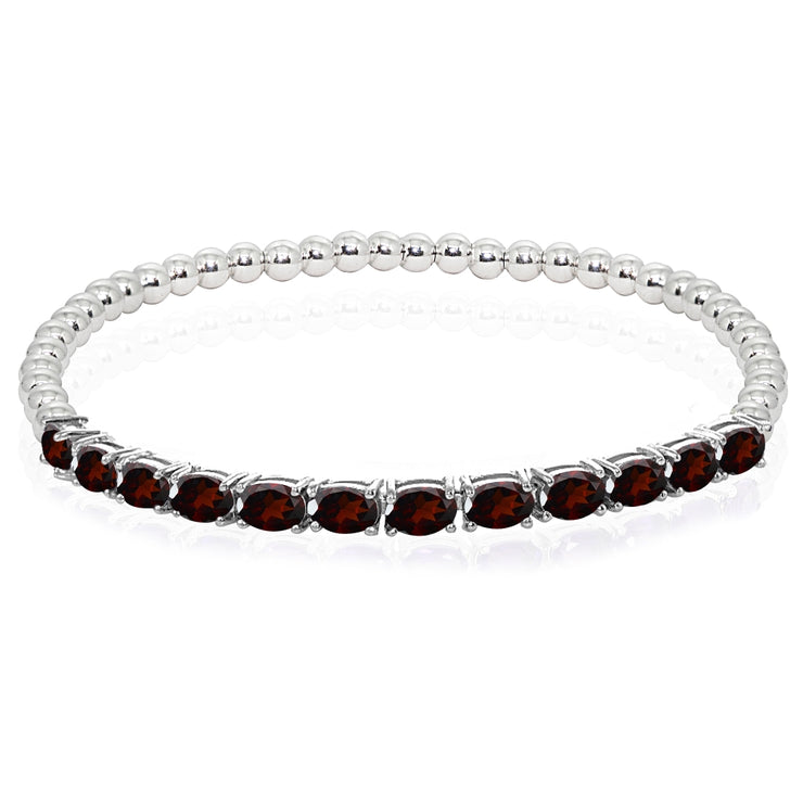 Sterling Silver Garnet Oval Beaded Stretch Tennis Style Bracelet