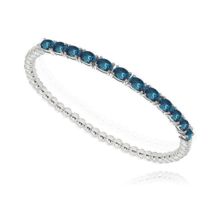 Sterling Silver London Blue Topaz Oval Beaded Stretch Tennis Style Bracelet