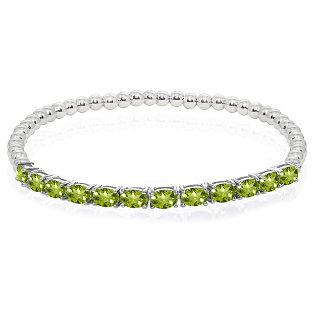 Sterling Silver Peridot Oval Beaded Stretch Tennis Style Bracelet