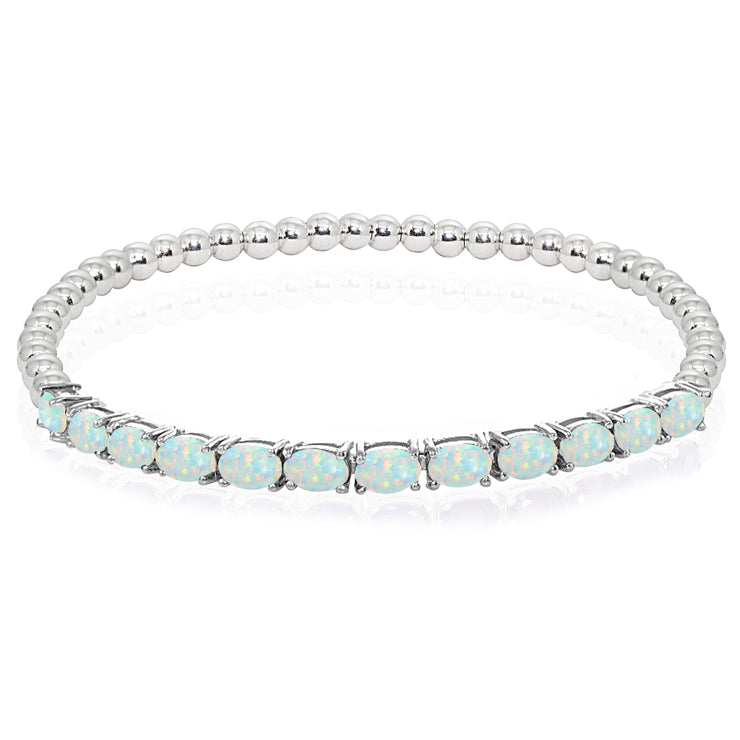 Sterling Silver Created White Opal Oval Beaded Stretch Tennis Style Bracelet