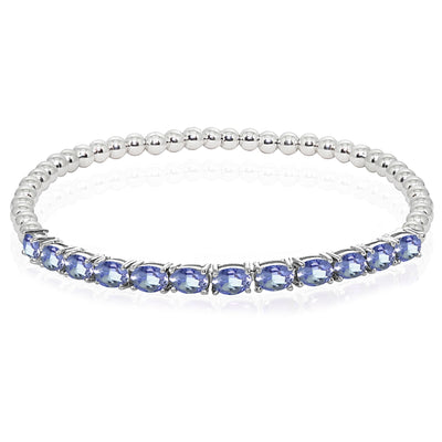 Sterling Silver Tanzanite Oval Beaded Stretch Tennis Style Bracelet
