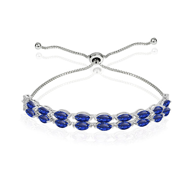 Sterling Silver Created Blue Sapphire & White Topaz Marquise-Cut Layered Tennis Style Bolo Bracelet