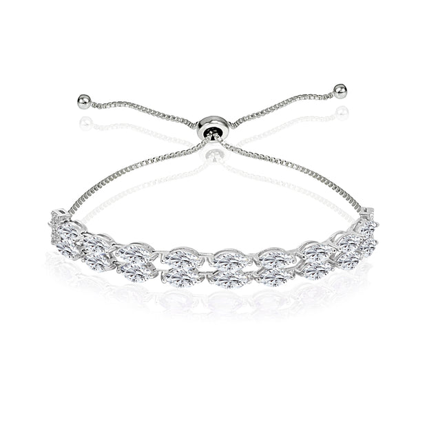 Sterling Silver Created White Sapphire Marquise-Cut Layered Tennis Style Bolo Bracelet