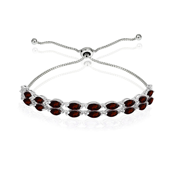 Sterling Silver Garnet & White Topaz Marquise-Cut Layered Tennis Style Bolo Bracelet