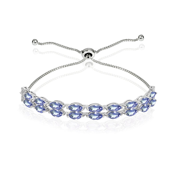 Sterling Silver Tanzanite & White Topaz Marquise-Cut Layered Tennis Style Bolo Bracelet
