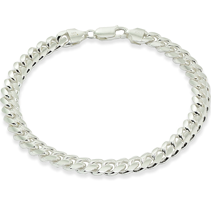 Sterling Silver 7.5mm Miami Cuban Curb Link Chain Mens Bracelet, 8.5 Inches