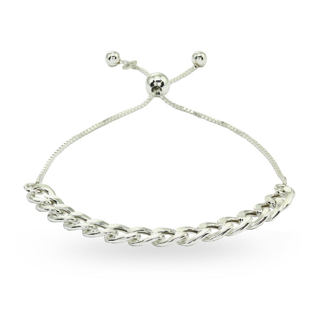 Sterling Silver Thin Cuban Link Chain Adjustable Pull-String Bracelet