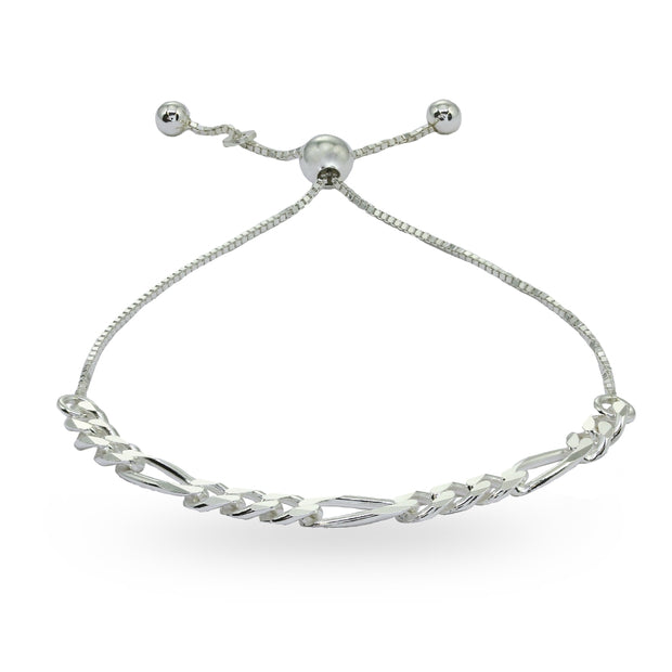 Sterling Silver Thin Figaro Link Chain Adjustable Pull-String Bracelet