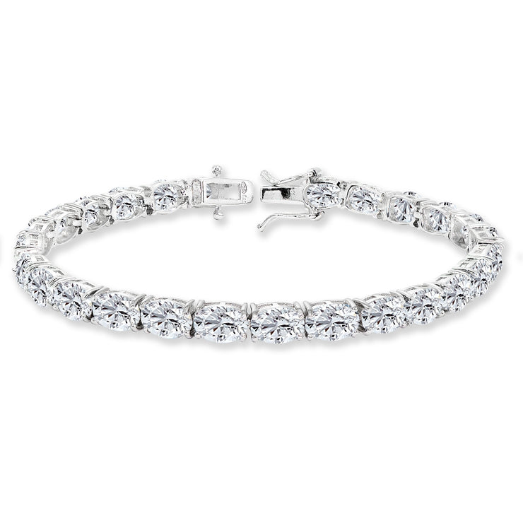 Sterling Silver 7x5mm Created White Sapphire Oval-cut Classic Tennis Bracelet