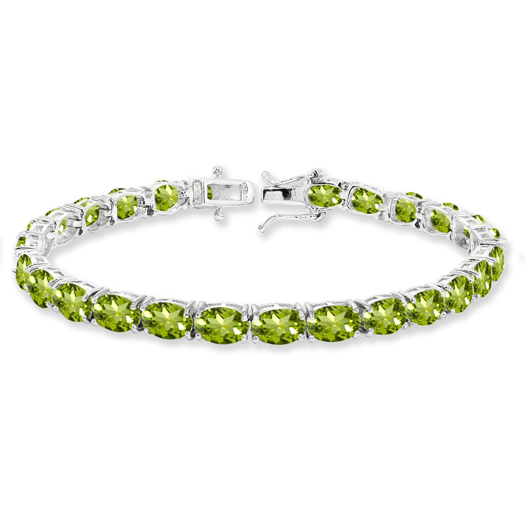 Sterling Silver 7x5mm Peridot Oval-cut Classic Tennis Bracelet