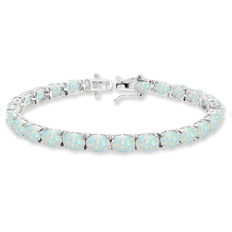 Sterling Silver 7x5mm Created White Opal Oval-cut Classic Tennis Bracelet