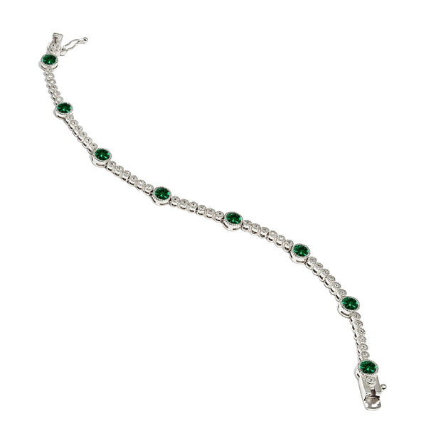 Sterling Silver Created Emerald & White Topaz Round Halo Tennis Bracelet