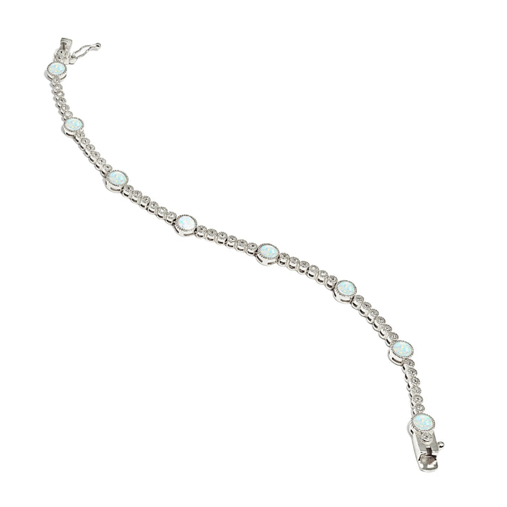 Sterling Silver Created White Opal & Topaz Round Halo Tennis Bracelet