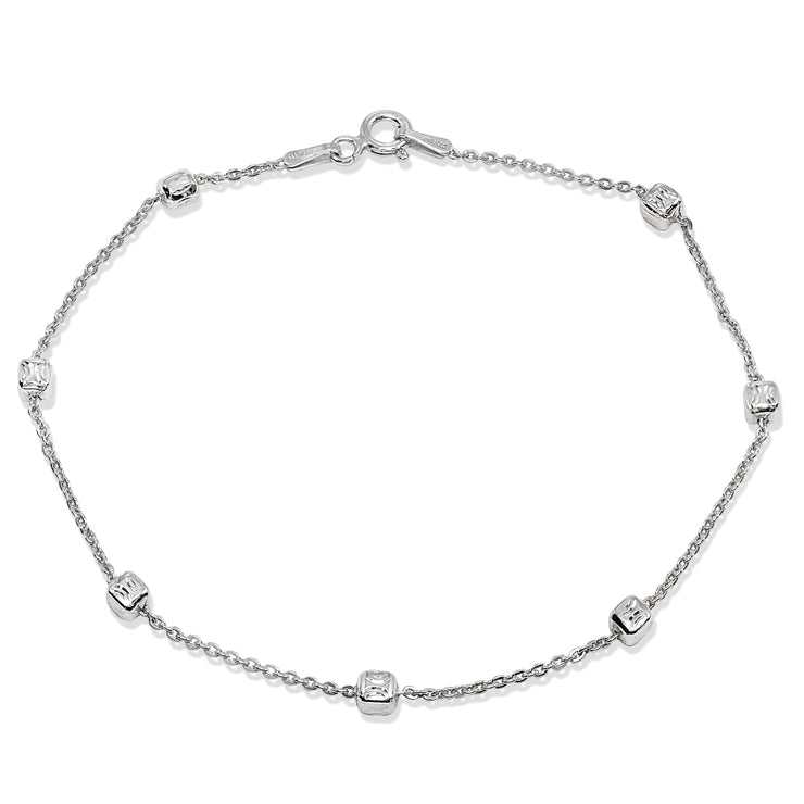 Sterling Silver Italian Polished Square Cube Bead Station Cable Chain Bracelet, 7.5 Inch