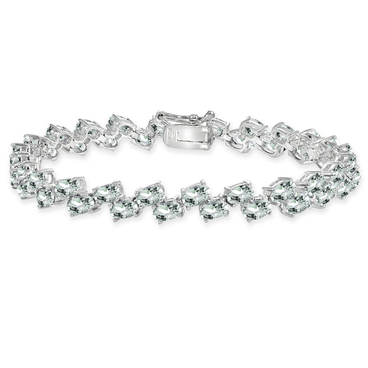 Sterling Silver Light Aquamarine 5x3mm Oval Wave Tennis Bracelet