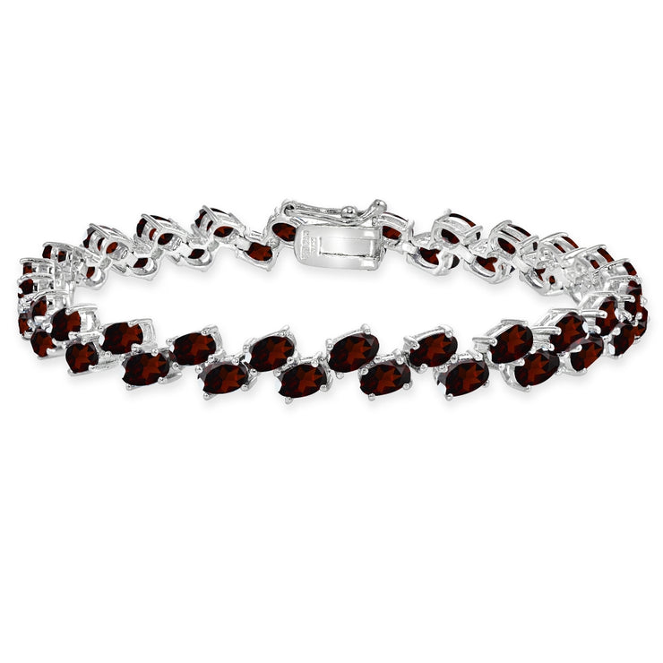 Sterling Silver Garnet 5x3mm Oval Wave Tennis Bracelet