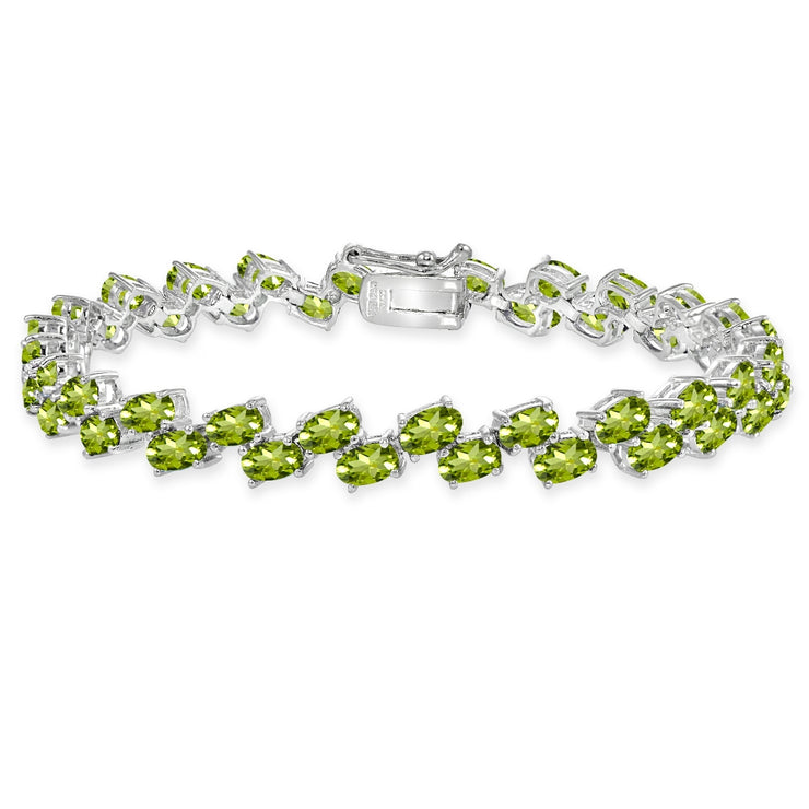 Sterling Silver Peridot 5x3mm Oval Wave Tennis Bracelet