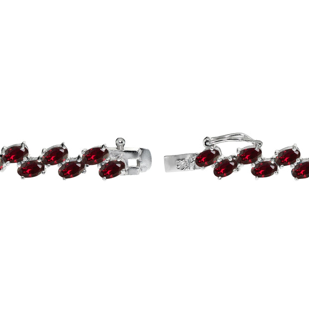 Sterling Silver Created Ruby 5x3mm Oval Wave Tennis Bracelet