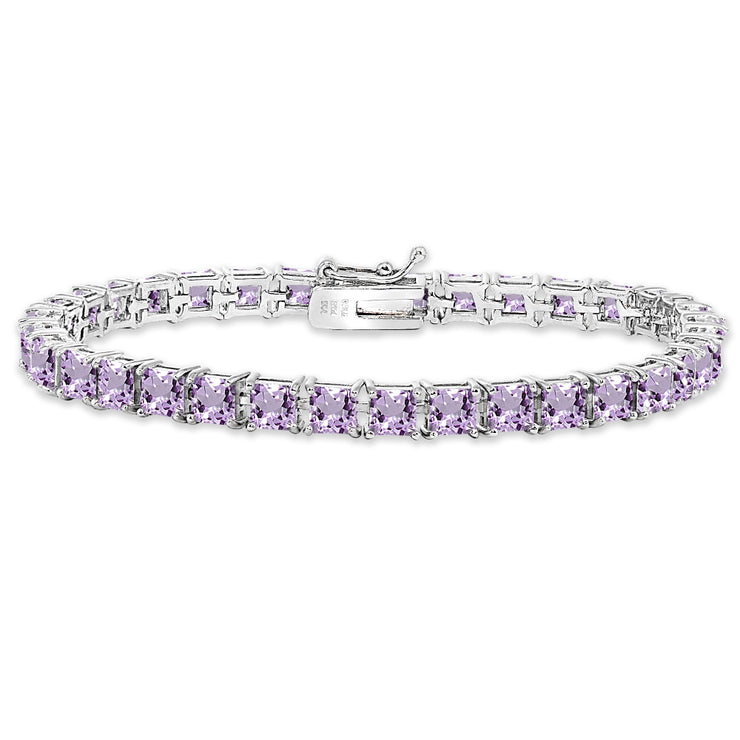 Sterling Silver Amethyst 4mm Princess-Cut Square Classic Tennis Bracelet