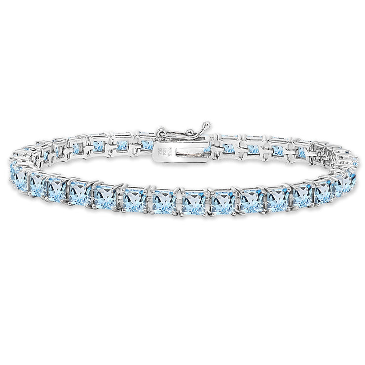 Sterling Silver Blue Topaz 4mm Princess-Cut Square Classic Tennis Bracelet