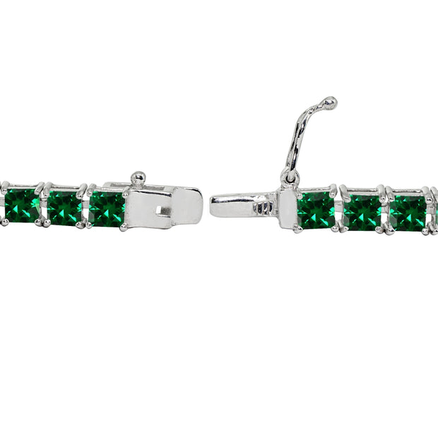 Sterling Silver Created Emerald 4mm Princess-Cut Square Classic Tennis Bracelet
