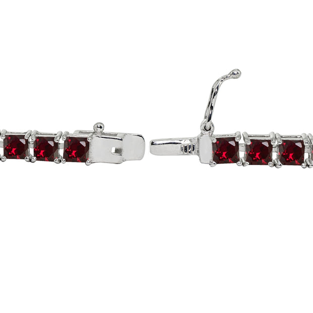 Sterling Silver Created Ruby 4mm Princess-Cut Square Classic Tennis Bracelet