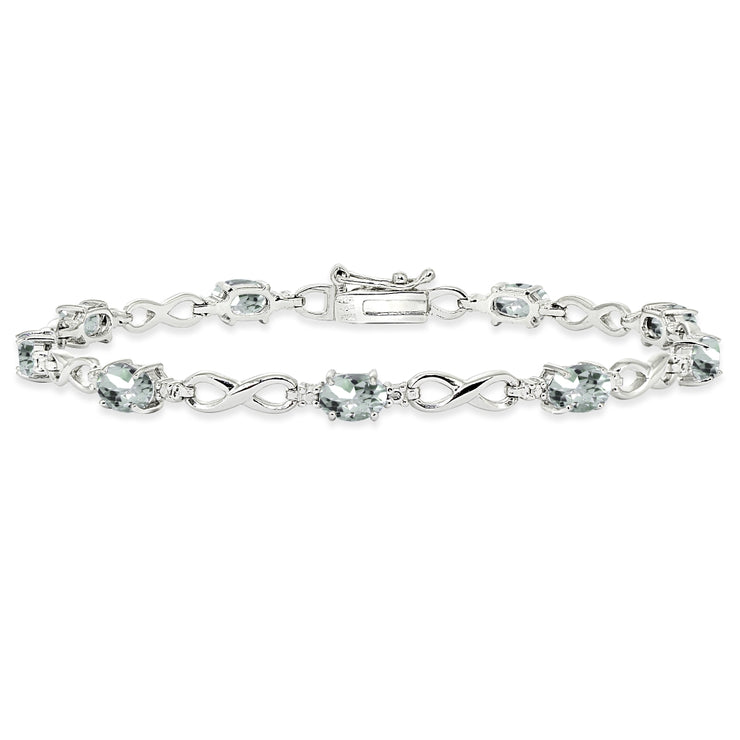Sterling Silver Light Aqumarine Oval Polished Infinity Classic Tennis Bracelet