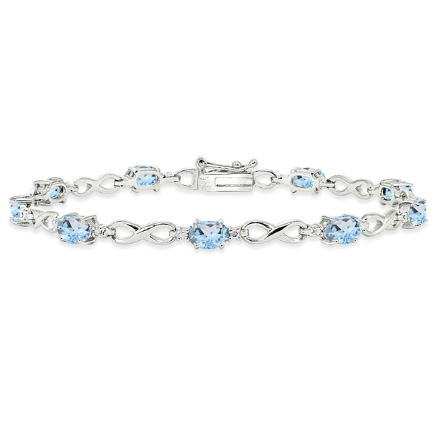 Sterling Silver Blue Topaz Oval Polished Infinity Classic Tennis Bracelet