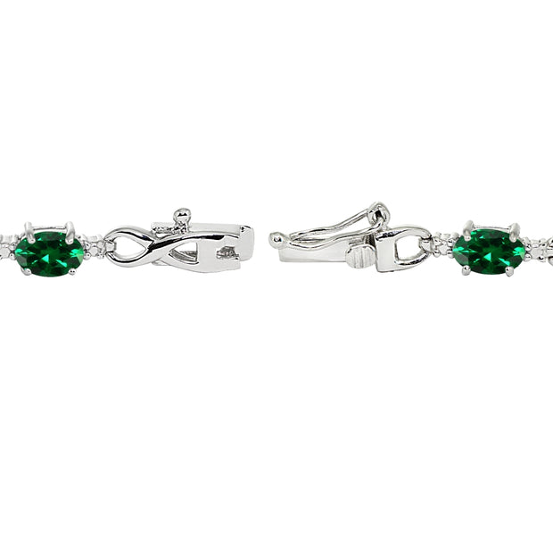 Sterling Silver Created Emerald Oval Polished Infinity Classic Tennis Bracelet