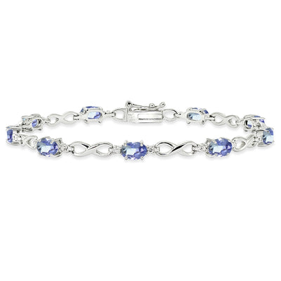 Sterling Silver Tanzanite Oval Polished Infinity Classic Tennis Bracelet