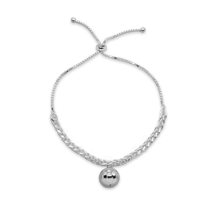 Sterling Silver Polished Ball Bead Station Wheat Spiga Chain Adjustable Bolo Bracelet