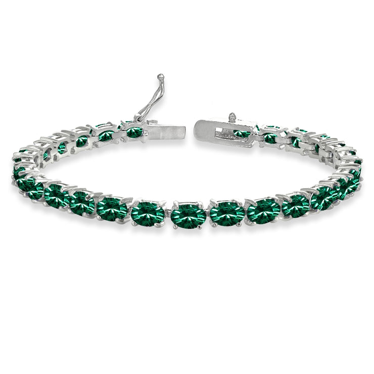 Sterling Silver Green 6x4mm Oval-Cut Classic Tennis Bracelet Made with Swarovski Crystals