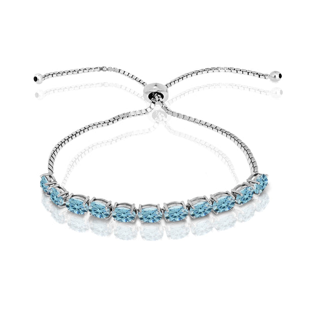 Sterling Silver Light Blue 6x4mm Oval-Cut Pull-String Adjustable Bolo Bracelet Made with Swarovski Crystals