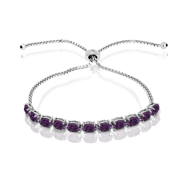 Sterling Silver Purple 6x4mm Oval-Cut Pull-String Adjustable Bolo Bracelet Made with Swarovski Crystals