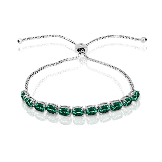 Sterling Silver Green 6x4mm Oval-Cut Pull-String Adjustable Bolo Bracelet Made with Swarovski Crystals