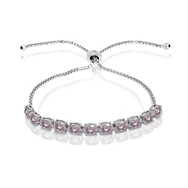 Sterling Silver Pink 6x4mm Oval-Cut Pull-String Adjustable Bolo Bracelet Made with Swarovski Crystals