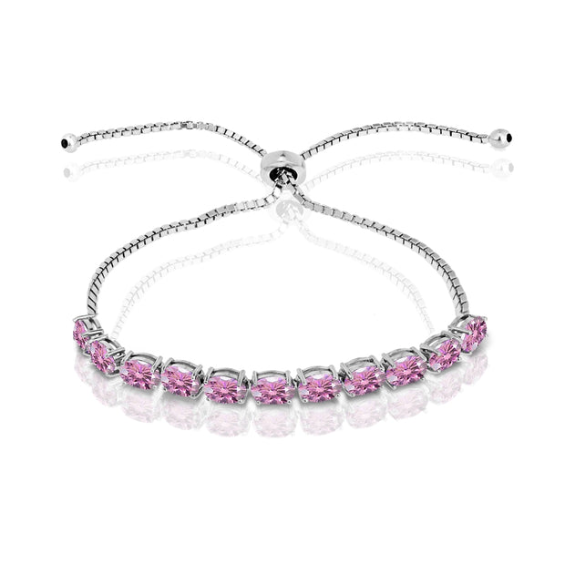 Sterling Silver Light Rose 6x4mm Oval-Cut Pull-String Adjustable Bolo Bracelet Made with Swarovski Crystals