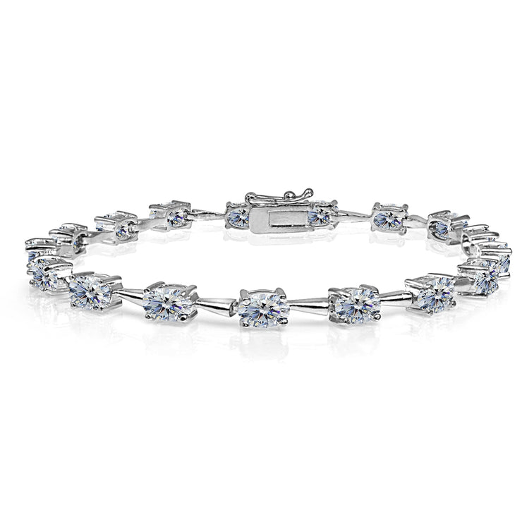 Sterling Silver Clear 6x4mm Oval-Cut Classic Link Tennis Bracelet Made with Swarovski Crystals