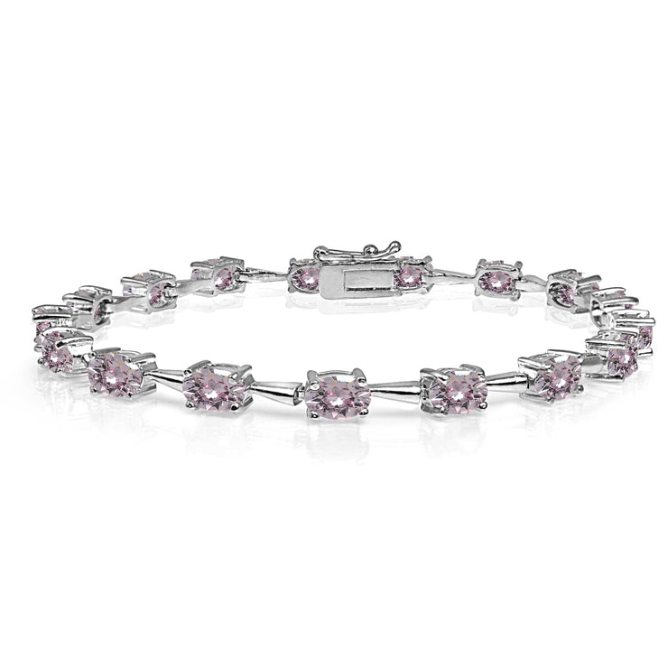 Sterling Silver Pink 6x4mm Oval-Cut Classic Link Tennis Bracelet Made with Swarovski Crystals