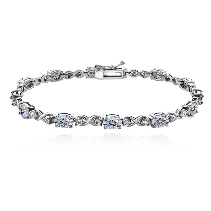 Sterling Silver Clear 6x4mm Oval Infinity Bracelet Made with Swarovski Crystals