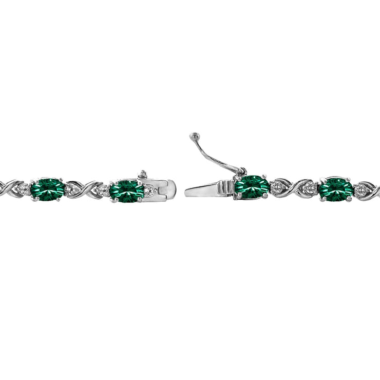 Sterling Silver Green 6x4mm Oval Infinity Bracelet Made with Swarovski Crystals