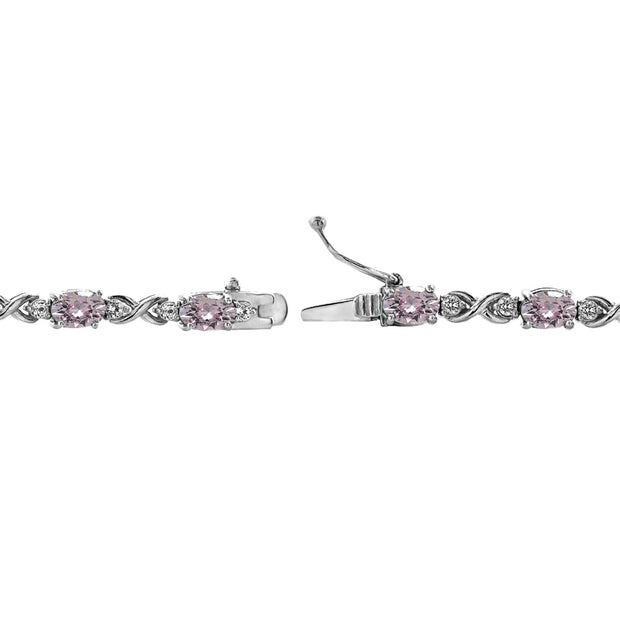 Sterling Silver Pink 6x4mm Oval Infinity Bracelet Made with Swarovski Crystals