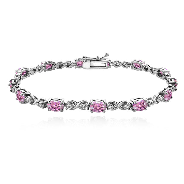 Sterling Silver Light Rose 6x4mm Oval Infinity Bracelet Made with Swarovski Crystals