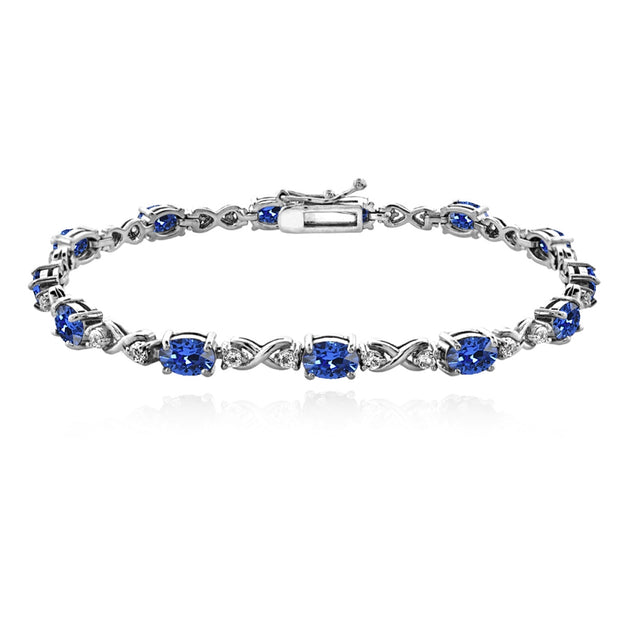 Sterling Silver Blue 6x4mm Oval Infinity Bracelet Made with Swarovski Crystals