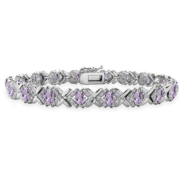 Sterling Silver Amethyst Oval X Design Polished Tennis Bracelet