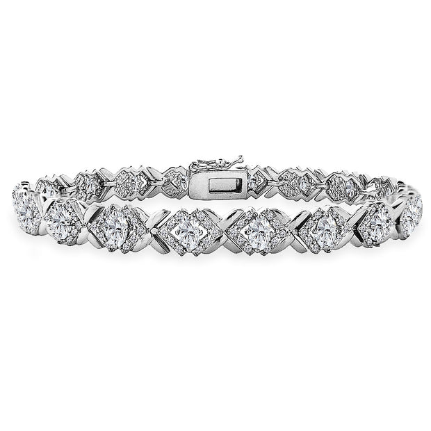 Sterling Silver Created White Sapphire Oval X Design Polished Tennis Bracelet