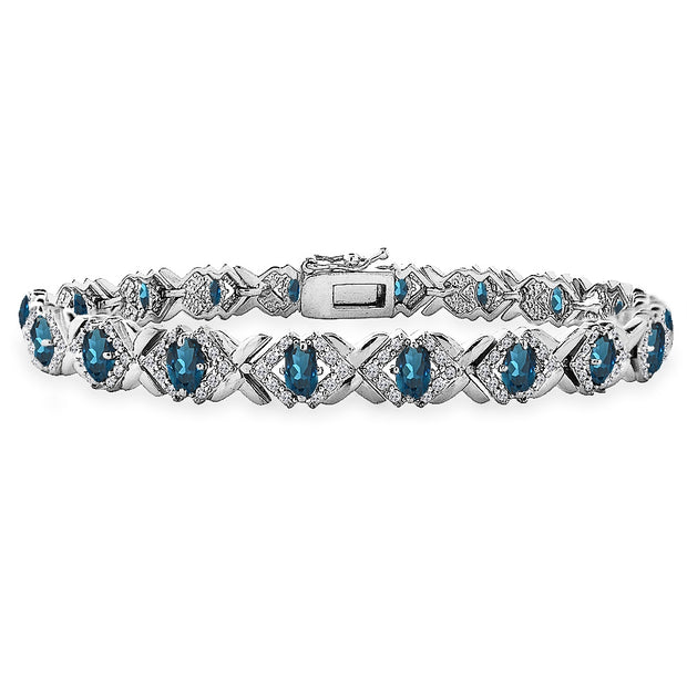 Sterling Silver London Blue Topaz Oval X Design Polished Tennis Bracelet