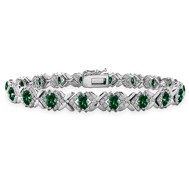 Sterling Silver Created Emerald Oval X Design Polished Tennis Bracelet