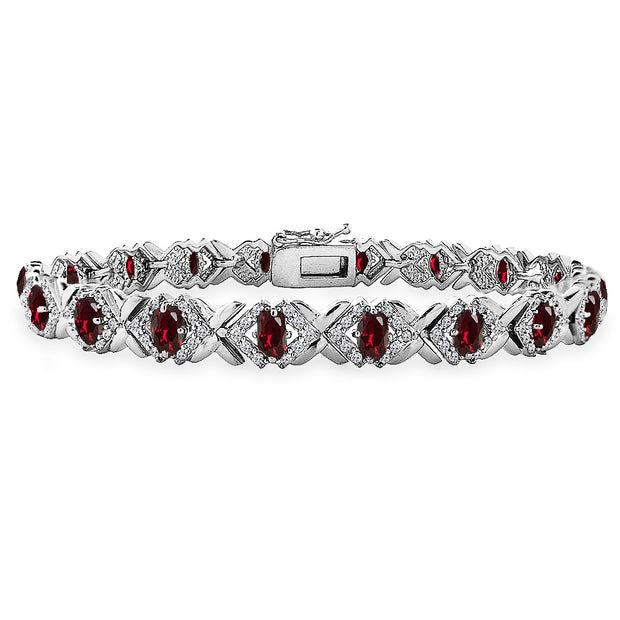 Sterling Silver Created Ruby Oval X Design Polished Tennis Bracelet