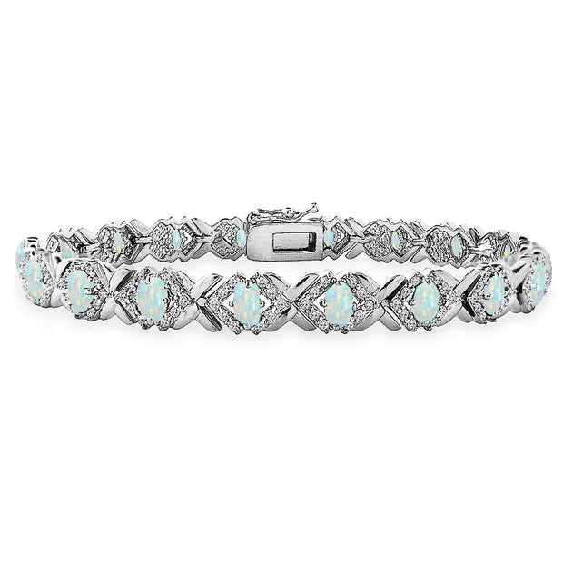 Sterling Silver Created White Opal Oval X Design Polished Tennis Bracelet